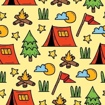 낙서 만화 캠프의 완벽 한 패턴 디자인