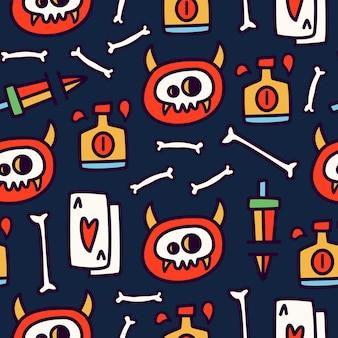 낙서 만화 해골의 완벽 한 패턴 디자인