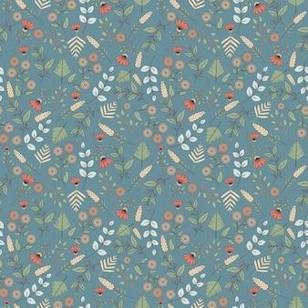 パステルオブジェクトのシームレスなパターンデザイン。葉の落書き。