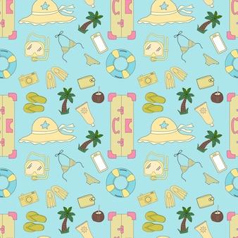 パステルオブジェクトのシームレスなパターンデザイン。彼らは夏に旅行しています。