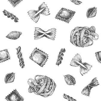 シームレスなパターンのデザインや手を描いたパスタと背景。