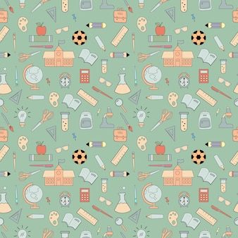 Seamless pattern design of pastel objects. back to school.