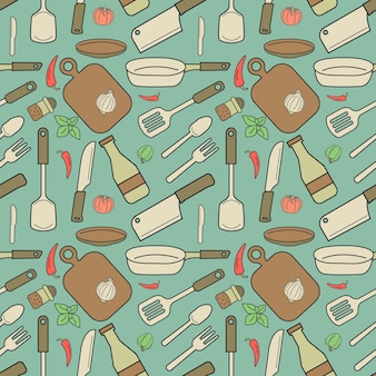 Seamless pattern design of pastel objects. they're kitchen tools.