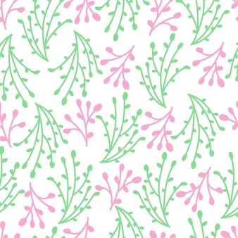 Seamless pattern design of pink and green branches.