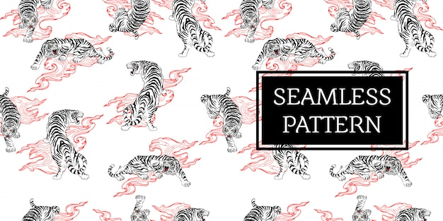 Seamless pattern design tiger tattoo japan style black whire red Premium Vector