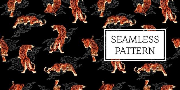 Seamless pattern design tiger tattoo japan style Premium Vector