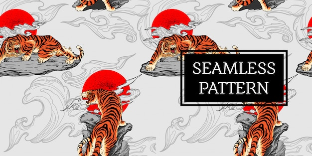 Seamless pattern design tiger tattoo japan style Premium Vector