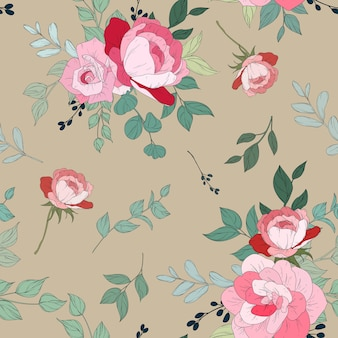 Seamless pattern design with beautiful floral