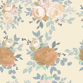 美しい花柄のシームレスなパターンデザイン