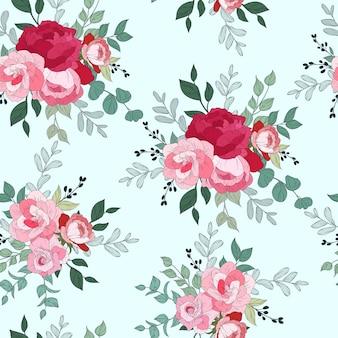 Бесшовный узор с красивыми цветочными