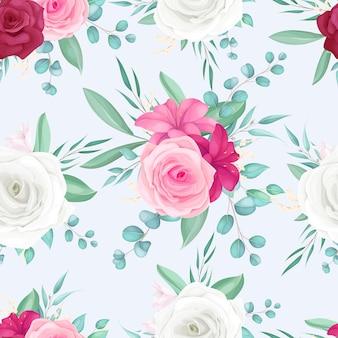 아름다운 장미와 백합 꽃과 원활한 패턴 디자인