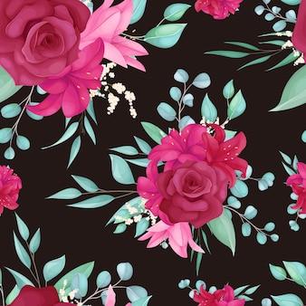 Бесшовные модели с красивой розой и цветком лилии