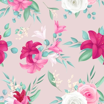 Seamless pattern design with beautiful rose and lily flower
