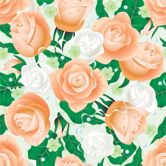 Seamless pattern design with beautiful roses.