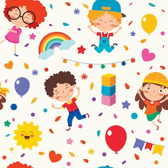 Seamless pattern design with  cartoon character