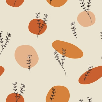 Seamless pattern design with floral elements and abstract shapes