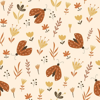 꽃 요소와 나비와 함께 완벽 한 패턴 디자인입니다. 벡터 일러스트 레이 션.