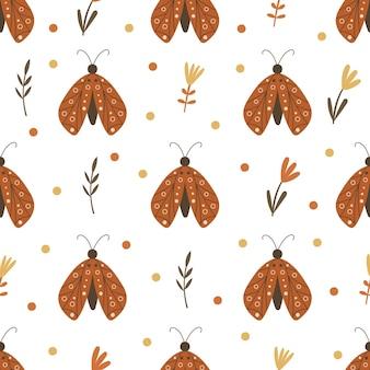Бесшовный фон с цветочными элементами и бабочками. векторная иллюстрация.