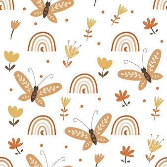 Seamless pattern design with floral elements and butterflies. vector illustration.