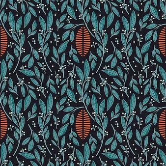 손으로 그린 꽃과 꽃 요소와 원활한 패턴 디자인