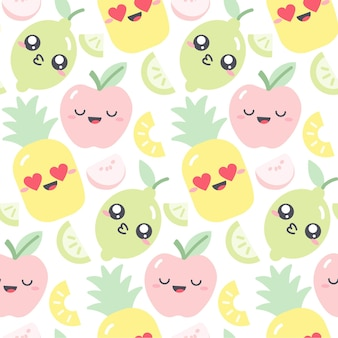 Seamless pattern design with kawaii fruits in pastel colors. funny illustration with cute fruit characters for kids clothes. drawing of apple, pineapple and lime