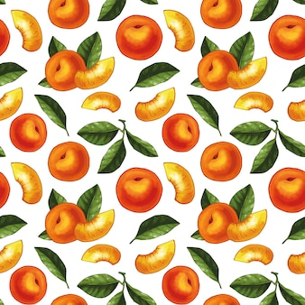 Seamless pattern design with peaches and leaves illustrations. whole peaches with slices and leaves.