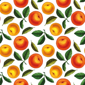 Seamless pattern design with peaches and leaves. whole peaches with leaves.