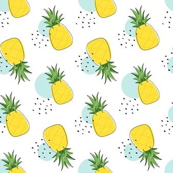 Бесшовный фон с фруктами ананаса и ломтиками ананаса.