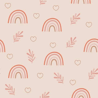 Seamless pattern design with rainbows and floral branches