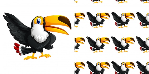Seamless pattern design with toucan bird flying