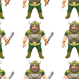 Seamless pattern design with viking warrior