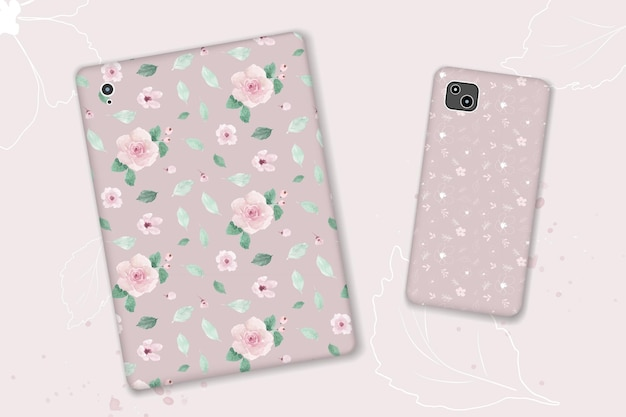 水彩パステルピンクの花と手描きの葉とのシームレスなパターンデザイン。