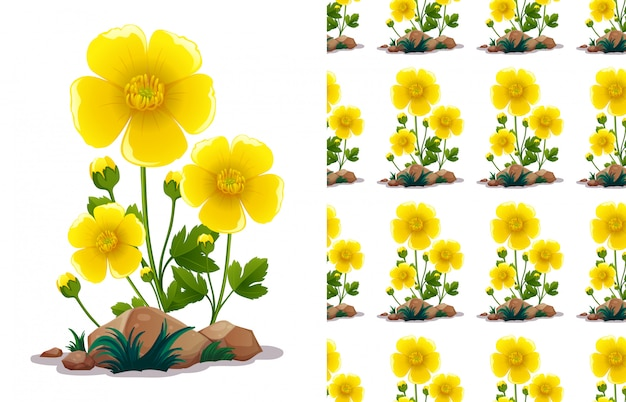 Seamless pattern design with yellow flowers and green leaves