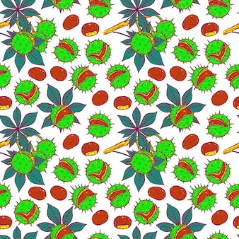 Seamless pattern of different bright color chestnuts. hand-drawn illustration