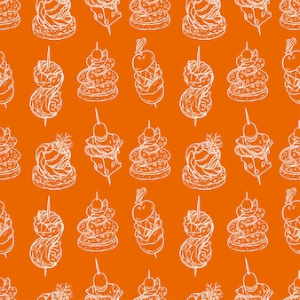 Seamless pattern of different canapes