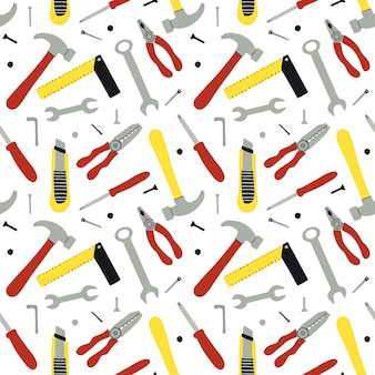 Seamless pattern of different construction instruments