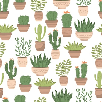 Seamless pattern different cute cactus and succulents in pots on white