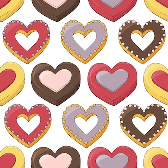 Seamless pattern of different desserts. romantic endless texture. hand drawn.
