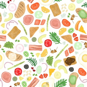 Seamless pattern of different elements of vegetable and meat ingredients
