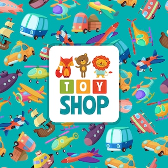 Seamless pattern  of different toys