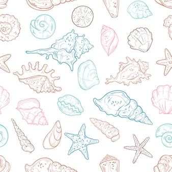 Seamless pattern of different types of seashells. wallpaper