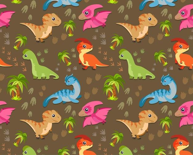 シームレスパターン、恐竜かわいいt-rex