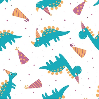 Seamless pattern of dinosaurs in birthday hat. perfect for kids design, fabric, wrapping, wallpaper, textile, home decor.