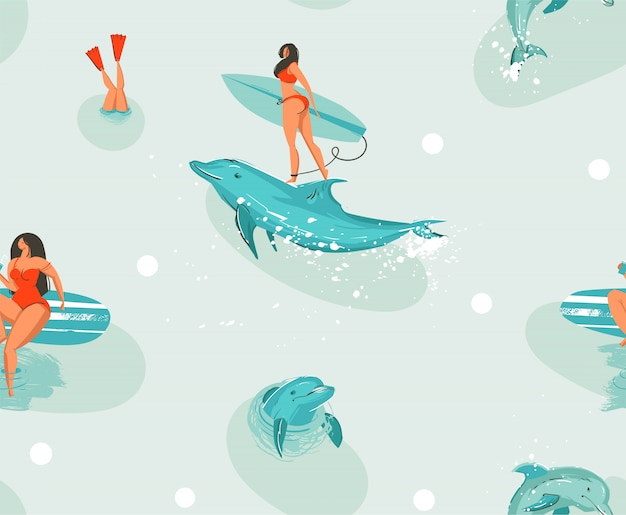 Seamless pattern of dolphins and girl surfing