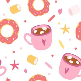 シームレスパターンドーナツとコーヒーカップ。布、壁紙、バナー、包装紙のシームレスなパターン。手描きスタイル。かわいい漫画イラスト