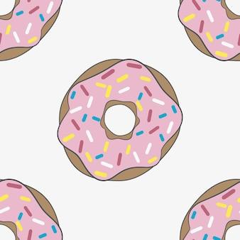 핑크 유약으로 완벽 한 패턴 도넛입니다. 배경. 벡터 일러스트 레이 션.