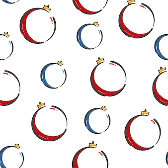Seamless pattern doodle balls christmas