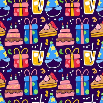 Seamless pattern doodle of birthday party element. can use for fabric etc