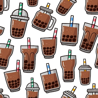 Seamless pattern doodle of boba bubble tea drink.