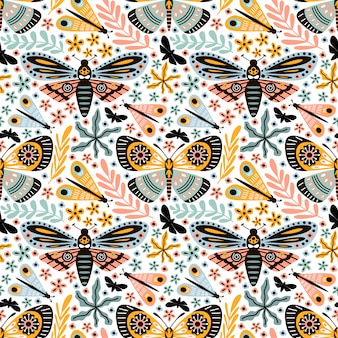Seamless pattern doodle butterfly with ornament flower foliage
